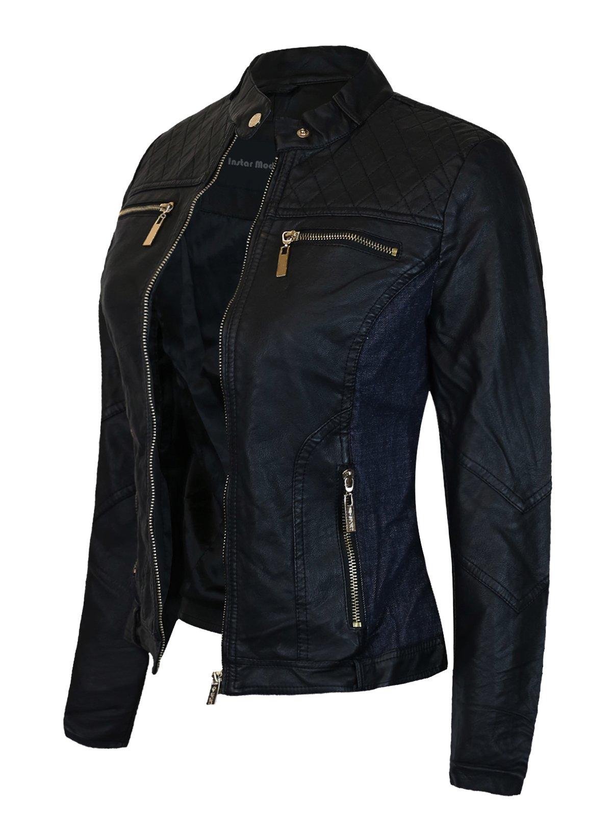 Instar Mode Women's Ultimate Moto Biker Faux Leather Jacket (JK28311 Blue, Medium)