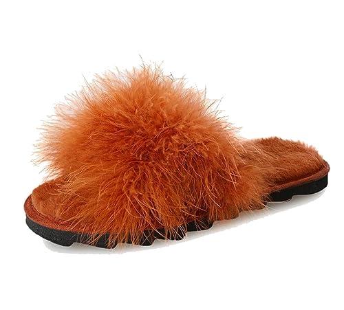 GDAN Zapatillas Femeninas Planas de Gamuza Salvaje PU Pelo Peluche Color  Sólido Antideslizante Zapatos resbaladizos de 4bc181dd90d5