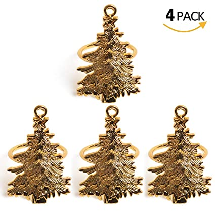 Christmas Tree Napkin Rings.Amazon Com Qtkj Set Of 4pcs Metal Christmas Tree Napkin