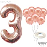 Rose Gold Number 3 Balloon – Large, Pack of 8 | 3rd Bday Party Decorations Supplies | foil Mylar and Latex Balloon | Match for Other Birthday Balloon Numbers for All Ages, Anniversary Balloon Garland