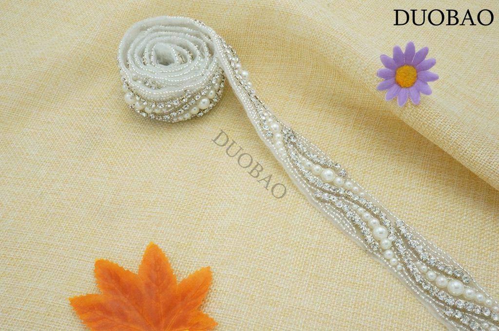 DUOBAO Rhinestone-Sash-Belt Crystal Rhinestone Applique Trim Bridal Sequin Applique Bridal Hair Accessories Crystal Embellished Trim Wedding Sash Belt by DUOBAO