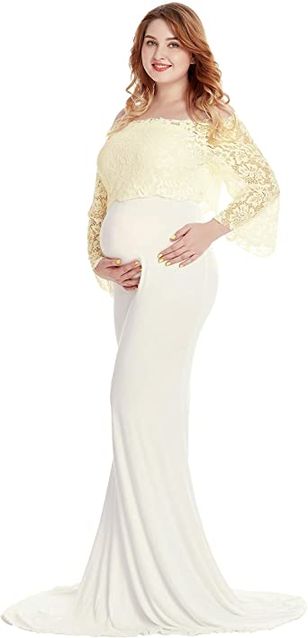 Women S Lace Off Shoulder Long Sleeve Maxi Maternity Gown Photography Dress At Amazon Women S Clothing Store