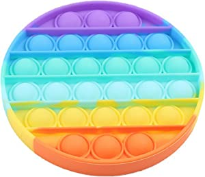 Push pop Bubble Fidget Toy, Stress Relief and Anti-Anxiety Tools for Kids and Adults, Sensory Irritability Toy for Autism with Special Needs to Relieve Stress (Round Rainbow)