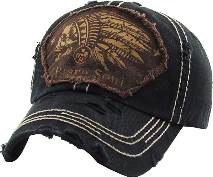 96b54843e KBETHOS Chief Skull and Free Spirit Hat Collection Distressed Washed Cotton  Adjustable Fashion Trucker Twill Mesh Cap