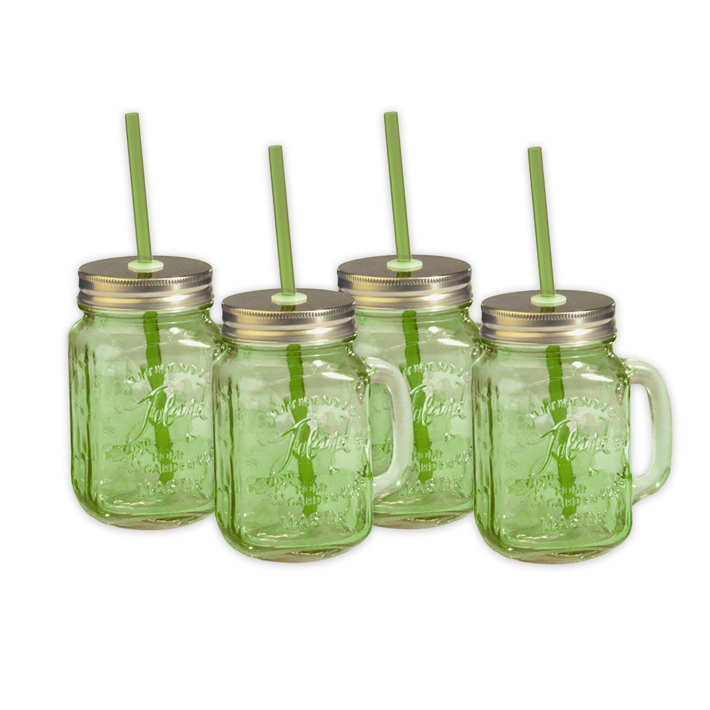 Toland Home Garden Mason Jar 16 oz Mug (Set of 4), Green, 1 pint