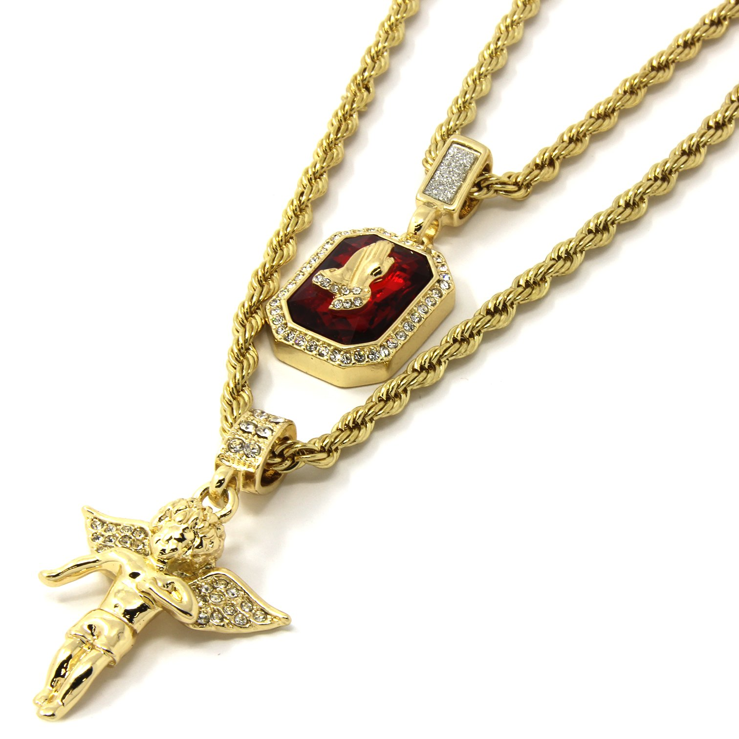 Mens Gold Angel & P Ruby Bundle Set Cz Pendant Hip Hop 24'' & 30'' Rope Chain D463
