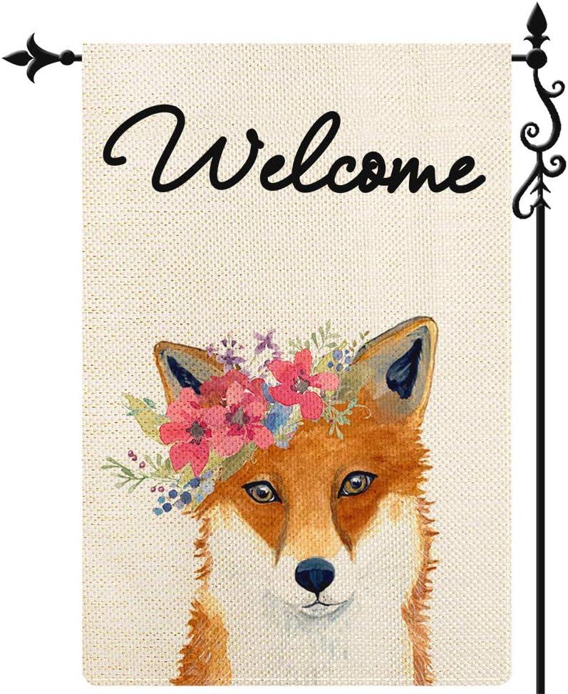 Coskaka Welcome Fox with Small Flowers Garden Flag,Vertical Double Sided Buffalo Check Plaid Rustic Farmland Burlap Yard Lawn Outdoor Decor 12.5x18 Inch