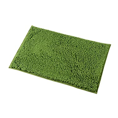 Mayshine 20x32 inch Non-Slip Bathroom Rug Shag Shower Mat Machine-Washable Bath mats with Water Absorbent Soft Microfibers of - Green