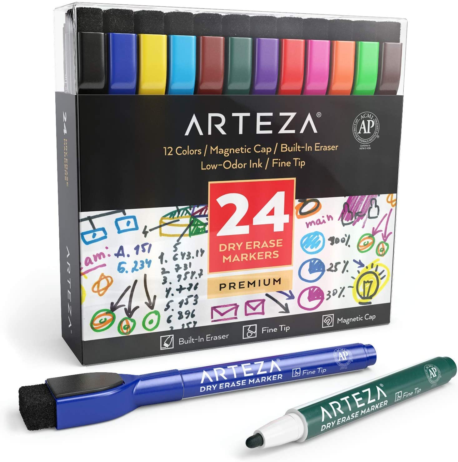 ARTEZA Magnetic Dry Erase Markers with Eraser, Pack of 24 (with Fine Tip), 12 Assorted Colors with Low-Odor Ink, Whiteboard Pens is perfect for School, Office, or Home