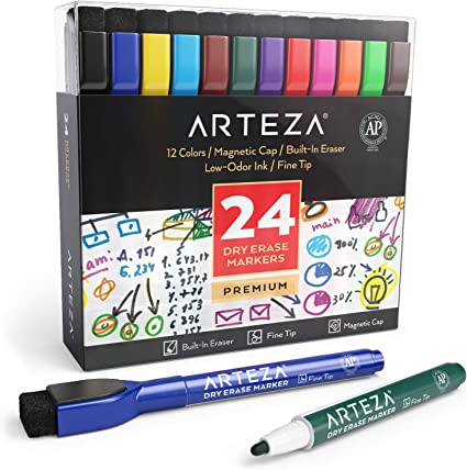 Arteza Rotuladores magnéticos con borrador para pizarra   Caja de marcadores de colores   Colores surtidos, 24 unidades   Rotuladores borrables para escuelas, oficinas y hogares: Amazon.es: Oficina y papelería