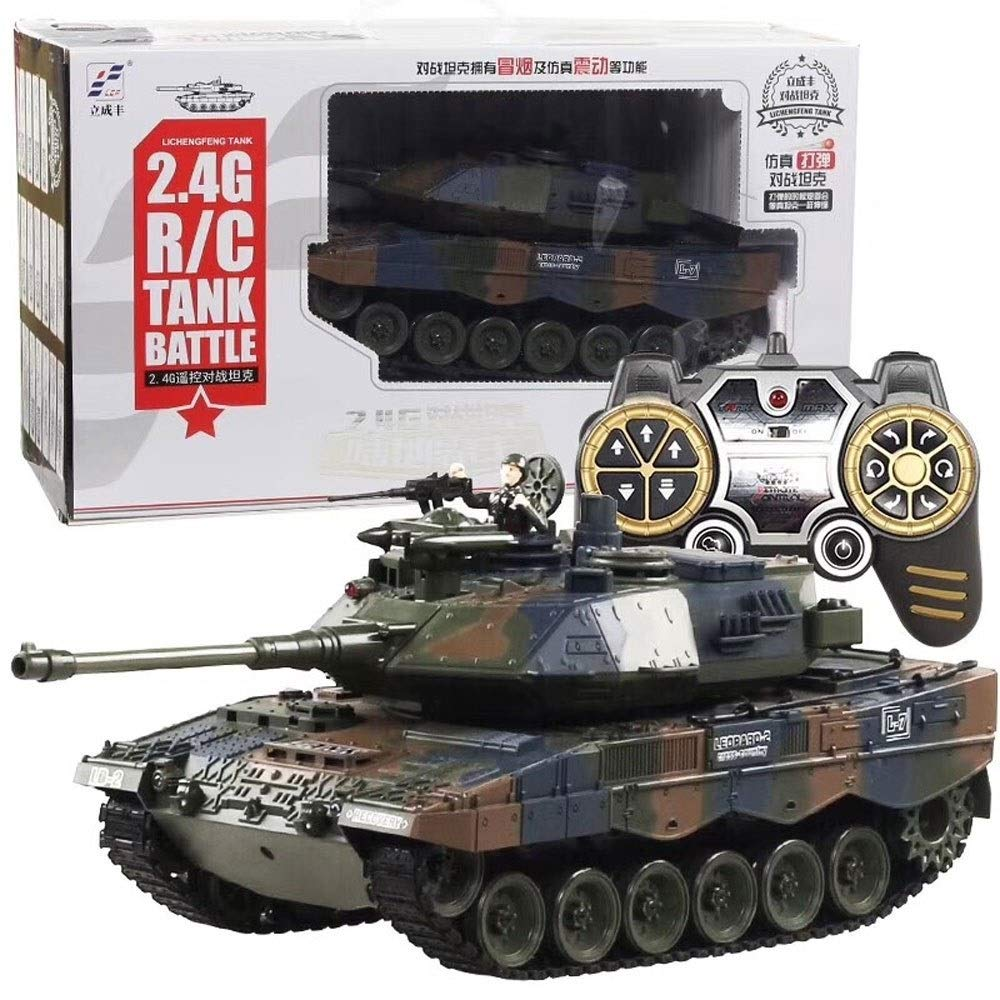 TBFEI 360° Rotating Hand Control Spinning Racing Car Birthday Gifts Radio Remote Control Fighting Infra Red Crawlers ChariotArmy Military Battle Tanks (Color : German Leopard 2 Battle Tank)