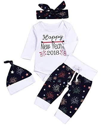 a0fb17f01 Mini honey Newborn Baby Girl Boy Christmas New Year 4pcs Outfits Clothes  Romper+Pants+