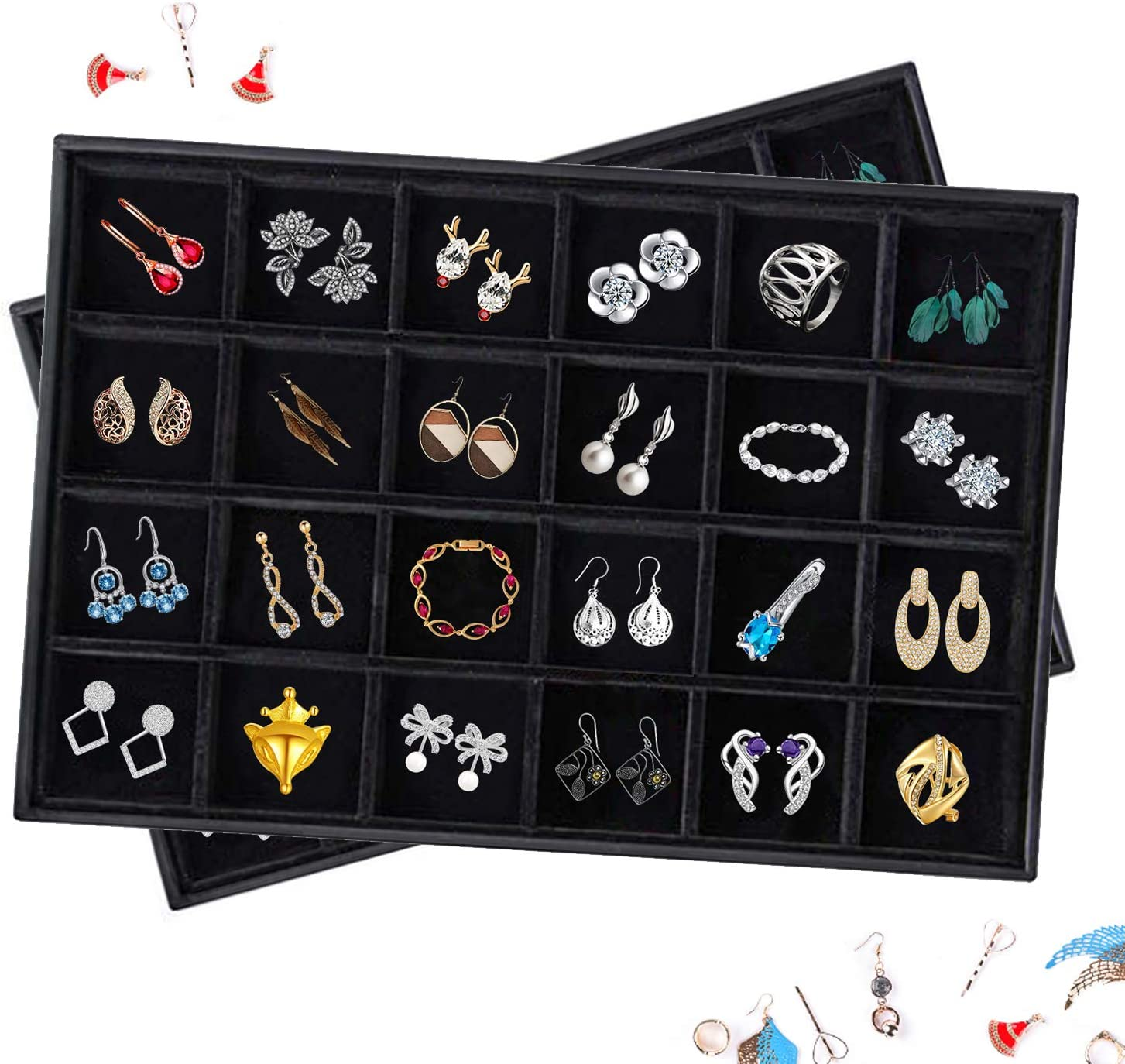 Premium Stackable Velvet 24 Grid Jewelry Tray Accessory Display Organizer Storage Box for Rings Earrings Necklace and Bracelets 24 Grid