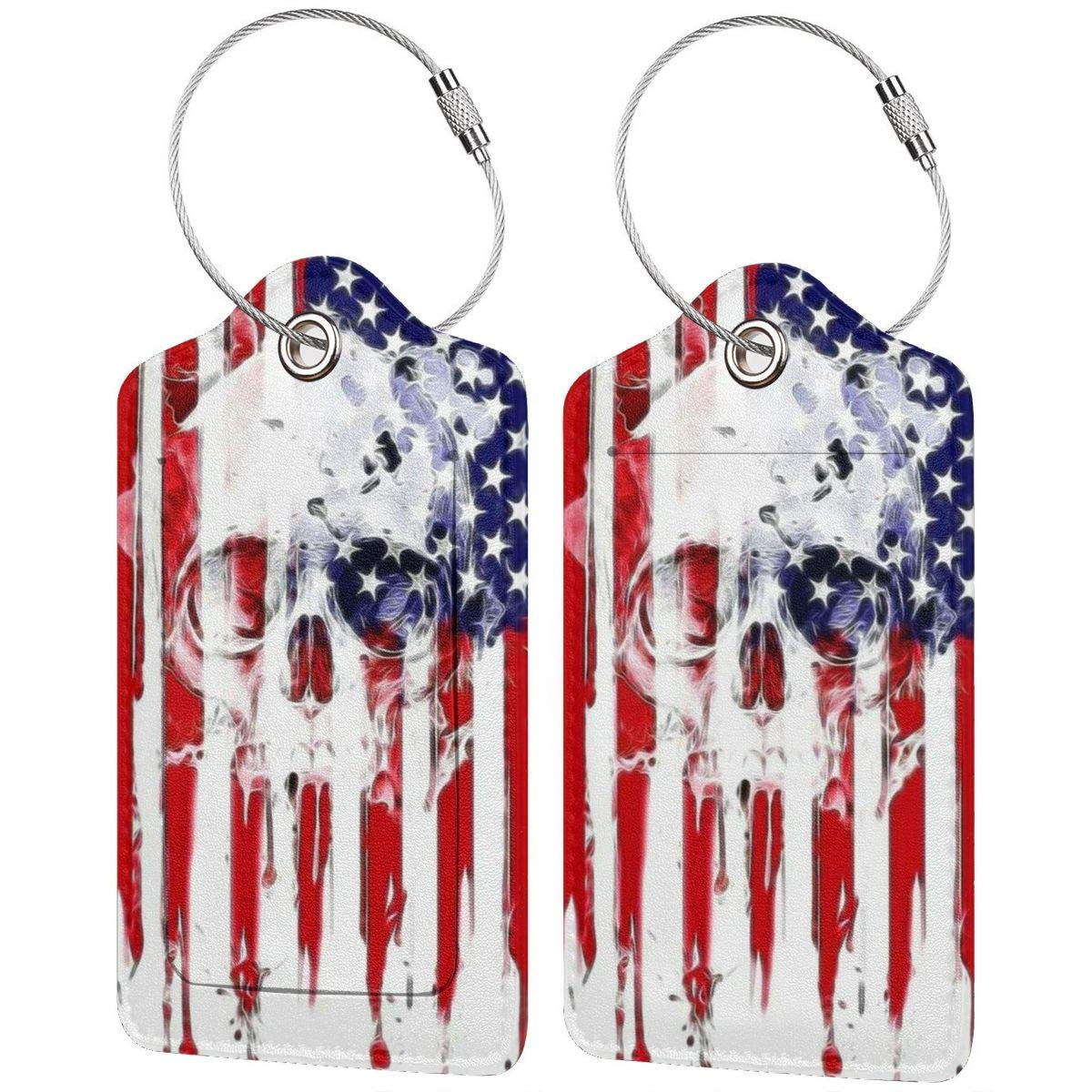 Travel Luggage Tags PU Leather Bag Tags Suitcase Baggage Label Handbag Tag With Full Back Privacy Cover Steel Loops Horror 4th Of July Sugar Skull set of 4