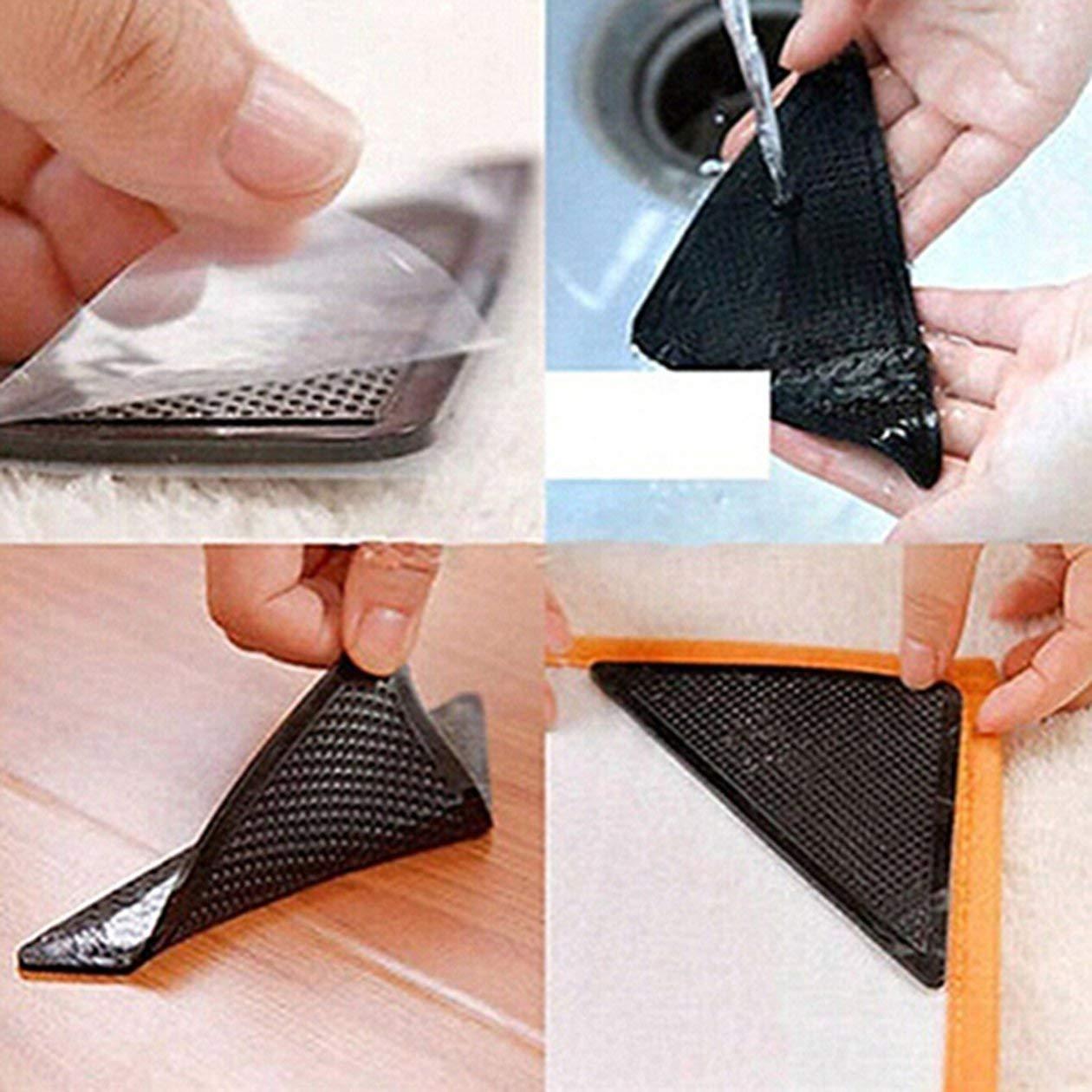 couleur: noir 4 tapis anti-d/érapants tapis tapis antid/érapants petits coins Coussin triangulaire lavable amovible adh/ésif puissant