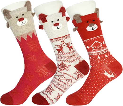 Cotton Blend Sports Socks Striped Printing Soft Men Sock Colorful Christmas Pair