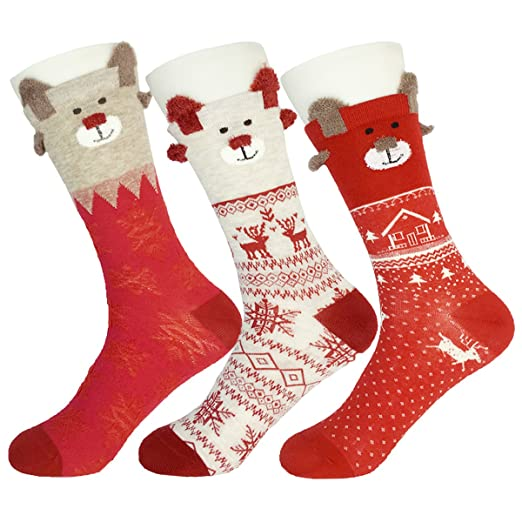 bb92b54459f 3 Pairs Womens Christmas Crew Socks Cute Pattern Cotton Ankle Socks Holiday  Printed Festive Patterns