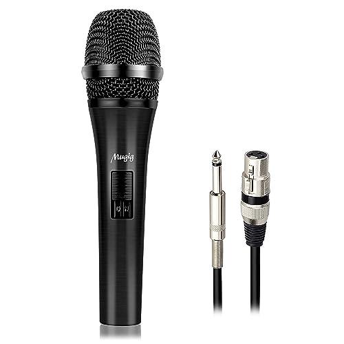 Mugig Microphone Dynamique Professionnel Uni-directionnel Cardioïde Vocal Noire Métal Finition avec 5M Microphone XLR Câble ( Noir )