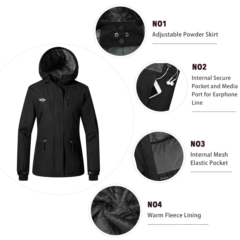 Amazon.com  Wantdo Women s Windproof Ski Jacket Mountain Warm Raincoat  Hooded Parka Waterproof Winter Coat with Fleece Lining  Clothing a5357fc85