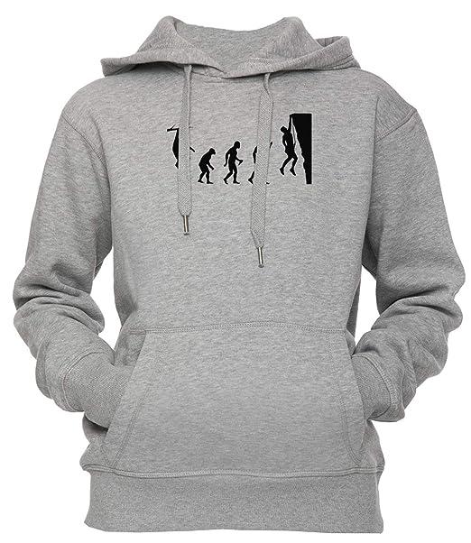 Gracioso Rock Alpinismo Evolución T Camisa Unisexo Hombre Mujer Sudadera con Capucha Pullover Gris Todos Los Tamaños Mens Womens Hoodie Grey: Amazon.es: ...