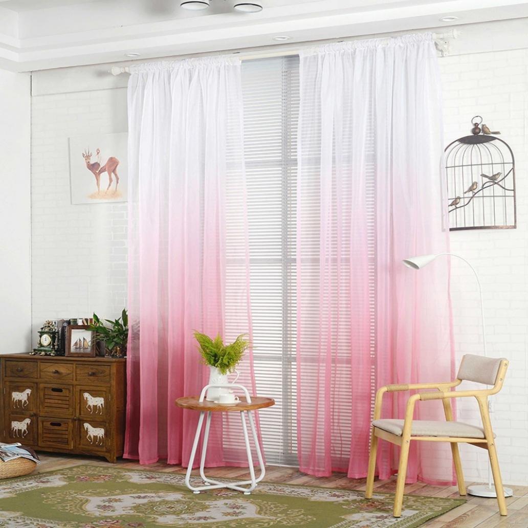 display08- Tenda a gradazione di colore, tulle, per finestra, drappo, velata, mantovana, decorazione per stanza, Blue, 39.37 x 78.74 39.37 x 78.74