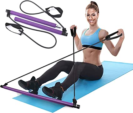 Amazon.com : N A Pilates Bar Kit with Resistance Bands, Yoga Resistance  Bands for Legs and Butt, Portable and Elastic Pilates Exercise Stick for  Full Body Workout (Purple) : Sports & Outdoors