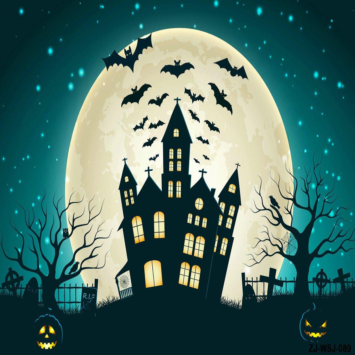 ハロウィンBackdrops Photography Pumpkin Bat城写真Studio背景for Children 10x10ft Halloween2 B07F5CV24V