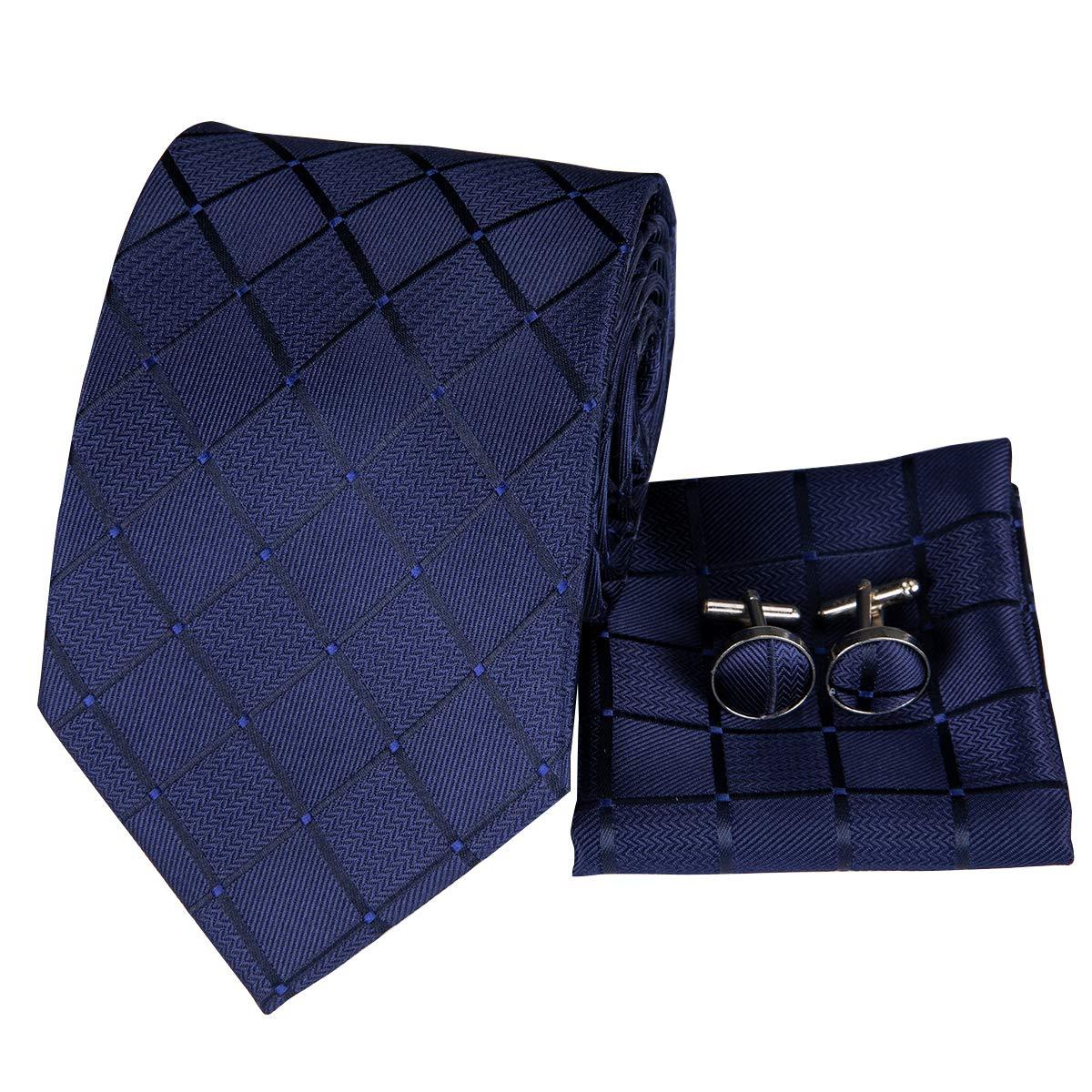 Hi-Tie Silk Neckties Plaid Check Jacquard Tie Pocket Square Cufflinks Set Gift Box N-B1656