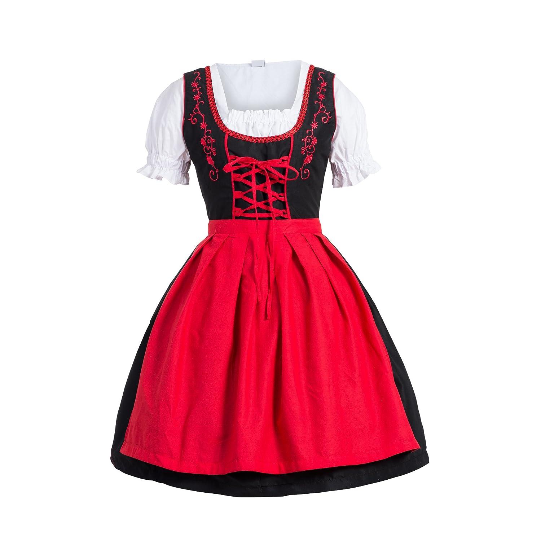 Dirndl 3 tlg.Trachtenkleid Kleid, Bluse, Schürze, Gr. 34-52 schwarz rot
