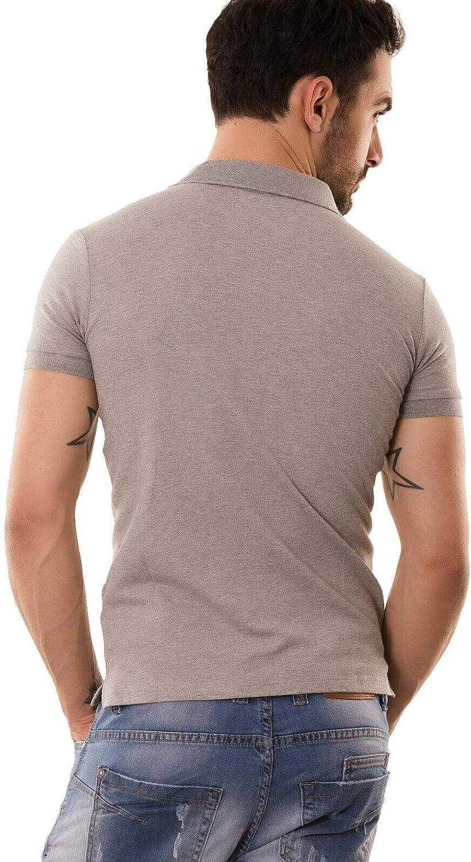Polo uomo maglia slim fit bottoni maniche corte colletto scollo V nuova M1601