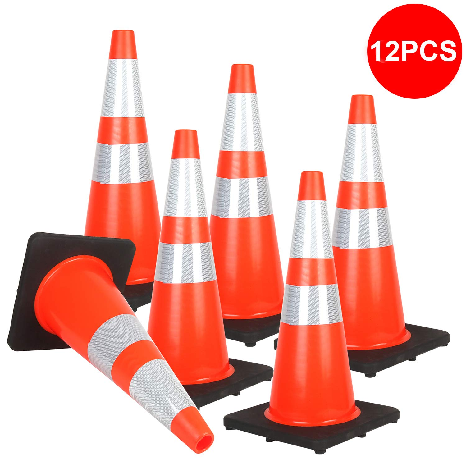 Reliancer 12PCS 28'' Traffic Cones PVC Safety Road Parking Cones with Black Weighted Base w/6''&4'' Reflective Collars Fluorescent Orange Hazard Cones Construction Cones for Traffic or Home Improvement