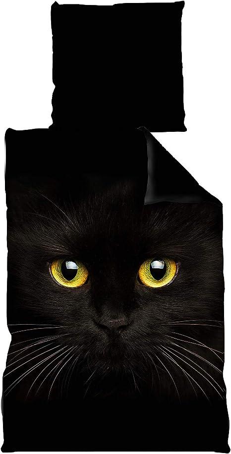 Mikrofaser Bettwäsche Wende 135x200 cm 2 tlg schwarz Katze
