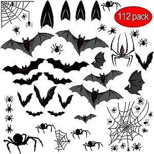 Sweepstakes: Halloween Bats Sticker Spiders Sticker Electrostatic Glass...