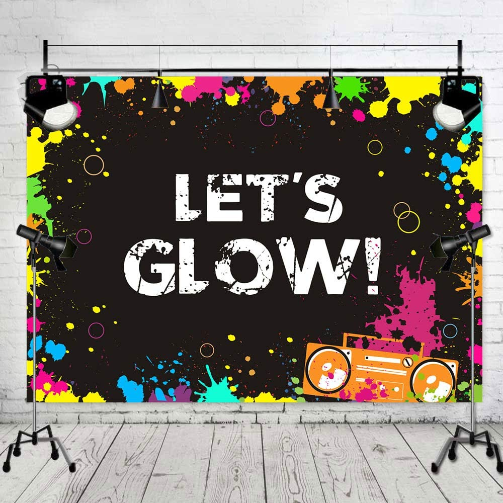 Water Colored Let's Glow Splatter Photography Backdrop Photo Background Glowing Party Banner Supplies Neon Birthday Party Decoration Vinyl Photo Booth Studio Props Vinyl 5x3ft