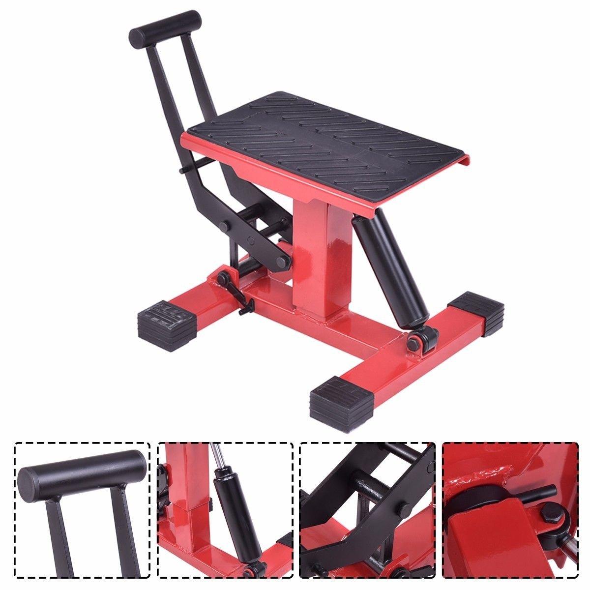 Goplus Hydraulic Motorcycle Dirt Bike Lift Jack Hoist Stand Table Height Adjustable W//Damping