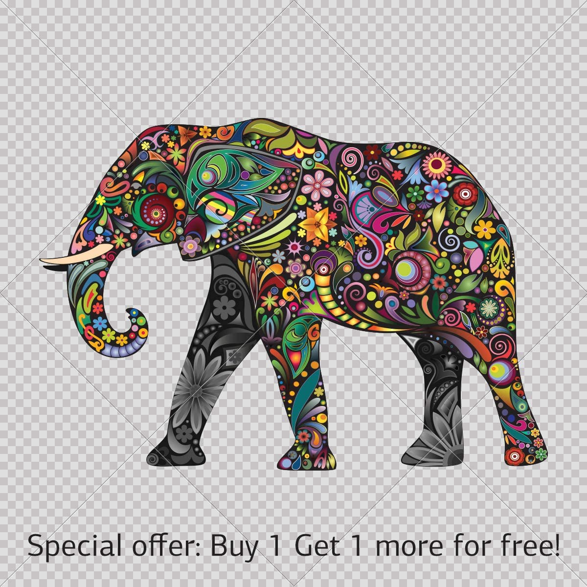 - Amazon.com: Elephant Decal Stickers Colorful Elephant Wall Color