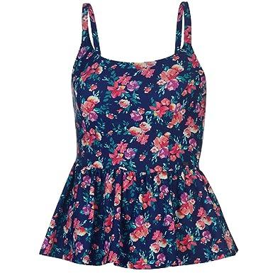 e6251eba0bb6f SoulCal Ladies Stylish Summer Peplum Tankini Top Swimwear  Amazon.co.uk   Clothing