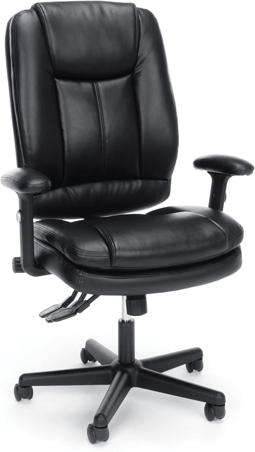 Essentials High Back Executive Chair – Leather Office Chair with Adjustable Arms, Black -BLK