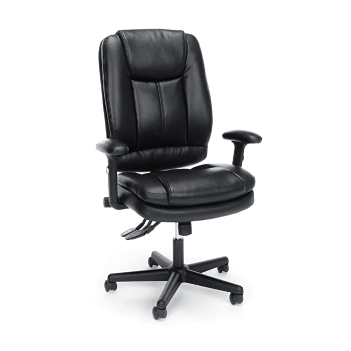 Essentials High Back Executive Chair - Leather Office Chair with Adjustable Arms, Black (ESS-6050-BLK)
