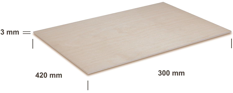 Modelado Creative Deco 3 x A5 Tablero Contrachapado Manualidades Ideal para Pirograbado Calado 148 x 210 x 3 mm Madera Maciza Abedul para Bricolaje CNC Router Corte por Laser