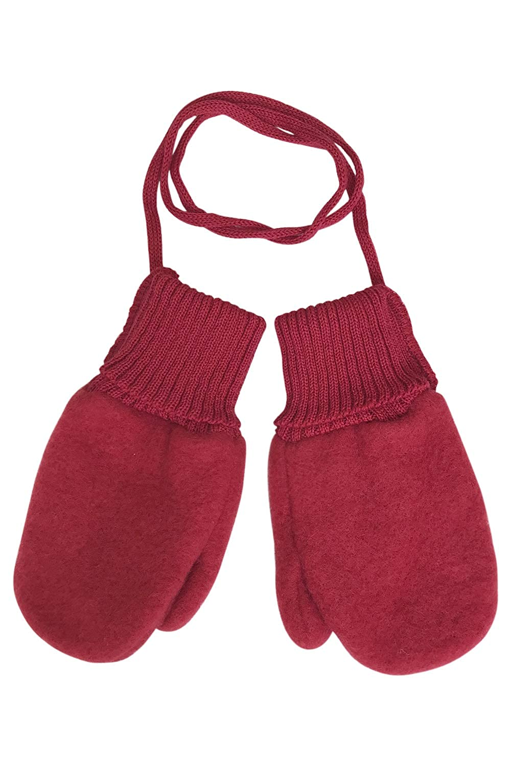 Toddler and Kids Mittens: Organic Merino Wool Snow Gloves with String Reiff 201110-KIDS-WOOL-MITTENS