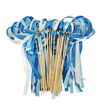 Hangnuo 30 Pack Wedding Wands Ribbon Streamers with Bell Fairy Stick ...