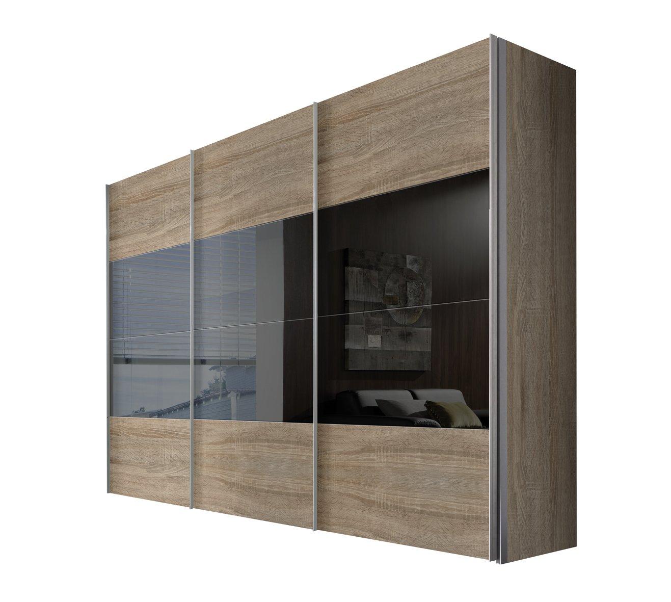 Solutions 49620-765 Schwebetürenschrank 3-türig, Korpus und Front Sonoma-eiche, Grauspiegel, Griffleisten alufarben, 68 x 300 x 216 cm