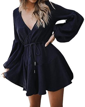 Frühling und Herbst Minikleid Damen Mode Plissee Kleider Blusenkleider Strandkleider  Sexy Tief V Neck Langarm Kleid 5b6dffce4c