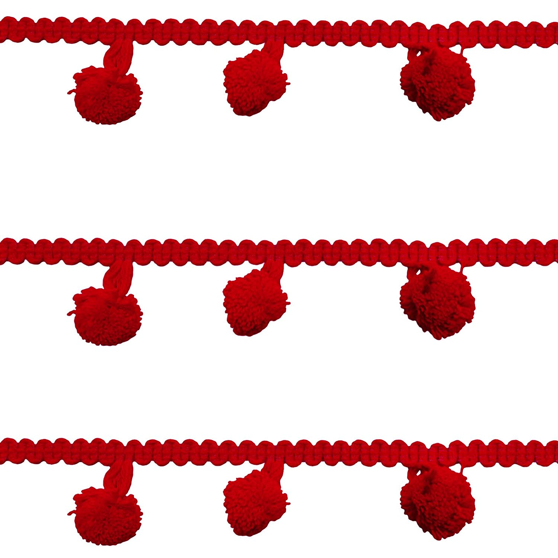 Peegli 8 Yard Red Pom-Pom Trim Handmade Ball Fringe Trim DIY Sewing Craft Lace Ribbon Tassels Lace For Home Party Decoration