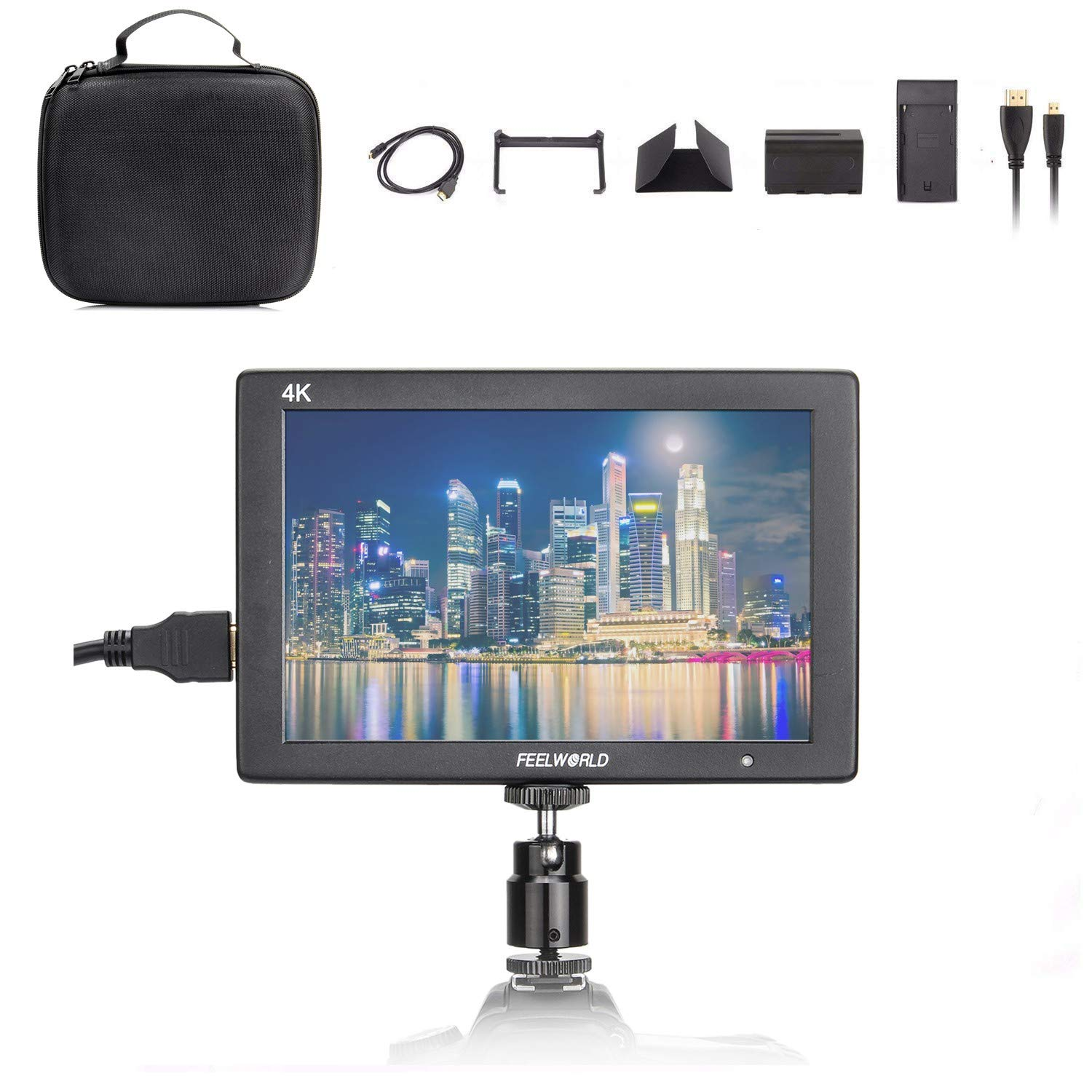 FEELWORLDT7+Case+Battery+Charger, 4K On-Camera MonitorFull HD 1920x1200 Pixels 7'' IPS Screen Video Display,7'' 4K HDMI Aluminum Metal Frame Video Monitorfor Camera/Video w/Mini & Micro HDMI Cable by FEELWORLD
