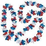"Patriotic Flower Leis. (50 Pcs. Per Unit) Plastic. Approx. 34"" - Luau Party Favors, 4th of July"