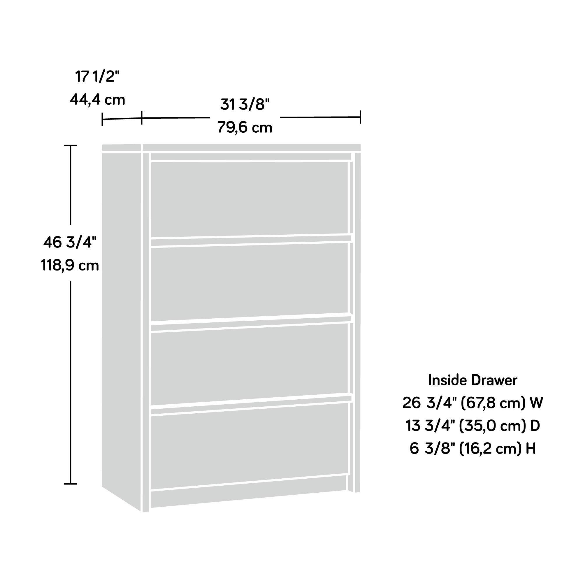 Sauder 420824 Harvey Park 4-Drawer Chest , L: 31.10'' x W: 17.48'' x H: 46.81'', Grand Walnut finish by Sauder (Image #5)