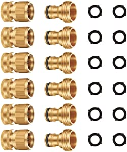 Riemex Garden Hose Quick Connector Set Solid Brass 3/4 inch GHT Water Fitings Thread Easy Connect No-Leak Male Female Value (6, Internal Thread Quick Connector) IQC-6