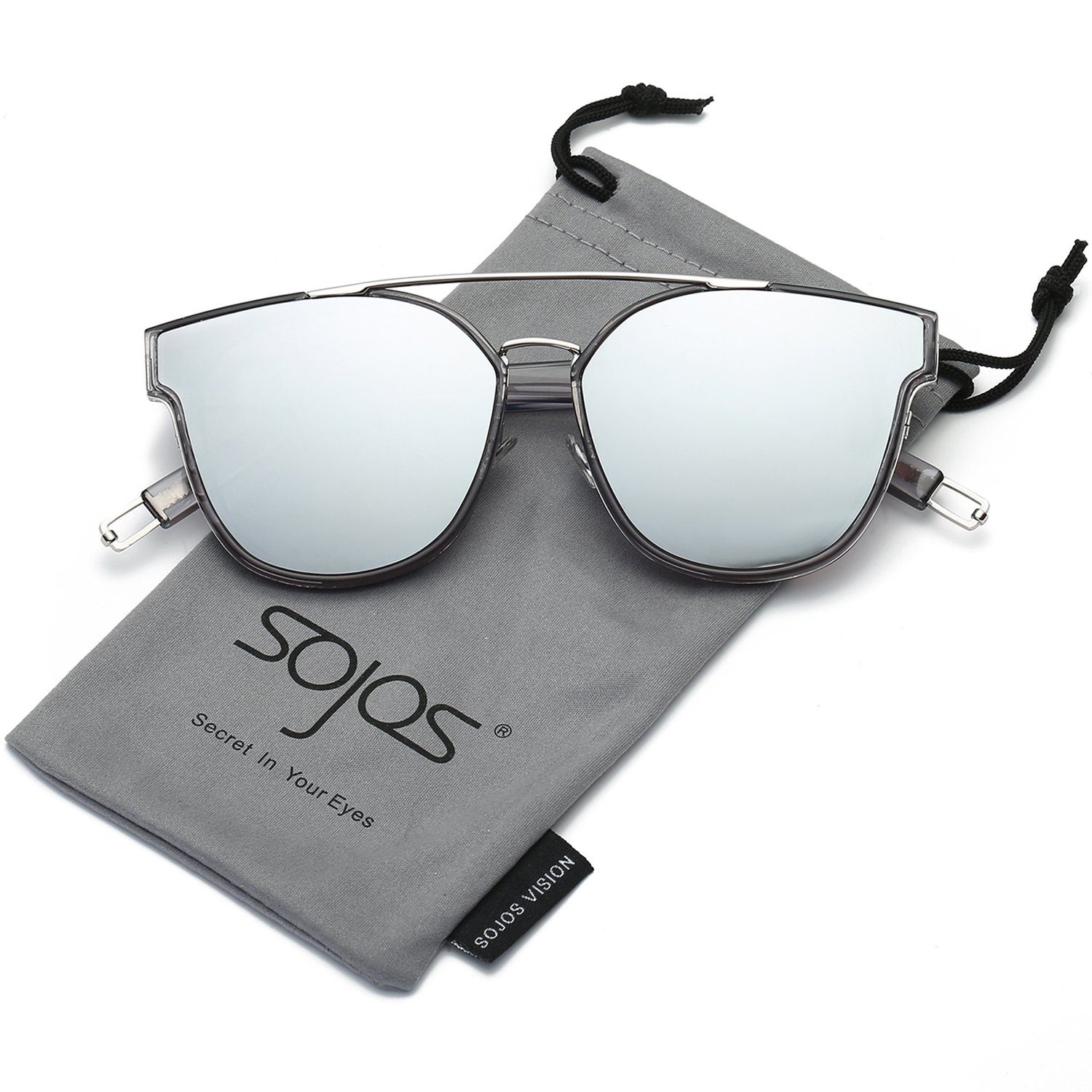 SojoS Classic Square Sunglasses for Women Men Flat Mirrored Lens SJ2038 SJ1008 with Silver Rim/Silver Mirrored Lens